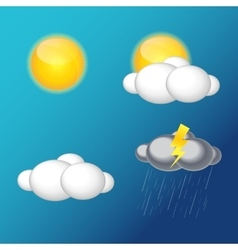 Weather icons with sun cloud rain vector