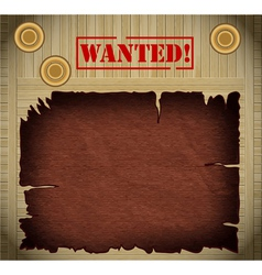 Wild west wanted poster on wooden background vector
