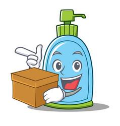 With box liquid soap character cartoon vector