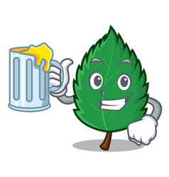 With juice mint leaves mascot cartoon vector