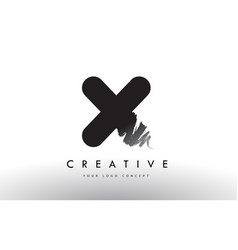 x brushed letter logo black brush letters design vector image