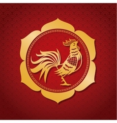 Year rooster chinese calendar gold frame vector