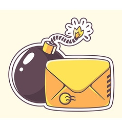yellow envelope with bomb on color backgr vector image
