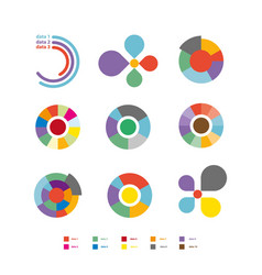 round diagrams colorful flat collection on vector image