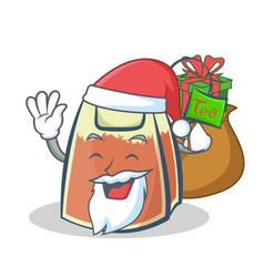 Santa tea bag character cartoon with gift vector
