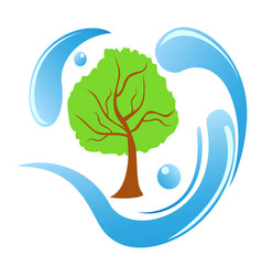 tree water logo vector image vector image