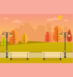 beautiful autumn park with benches vector image vector image
