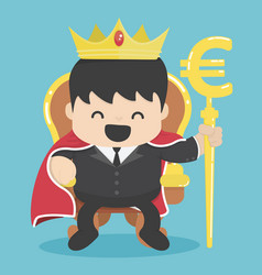 king of businessman with silver euro symbol vector image vector image