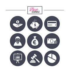 money cash and finance icons piggy bank sign vector image vector image