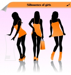 silhouette girls vector image