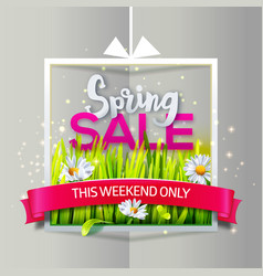 spring sale paper frame with red ribbon vector image