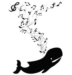 whale sings with music note vector image vector image