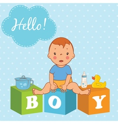 cute baby boy with children bricks vector image