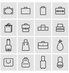 line bag icon set vector image