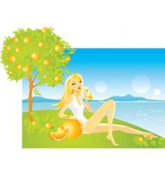 orange tree vector image vector image