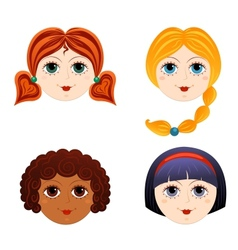 Set of girls faces 3 vector image vector image