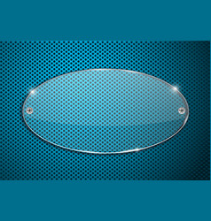 transparent acrylic plate on blue perforated vector image vector image
