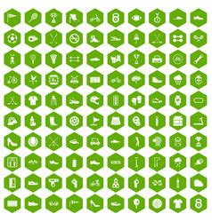 100 sneakers icons hexagon green vector image