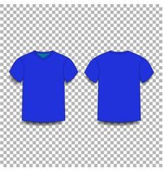 dark navy blue men s t-shirt template v-neck vector image
