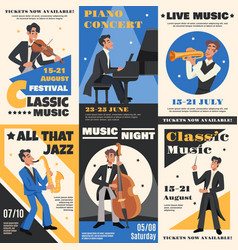 musician poster banner set vector image vector image