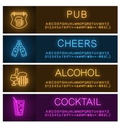 alcohol neon light banner templates set vector image