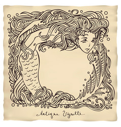 Antique mermaid vignette vector