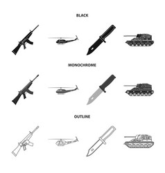 assault rifle m16 helicopter tank combat knife vector image