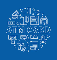 atm card round linear on blue vector image