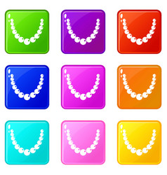 bead icons 9 set vector image