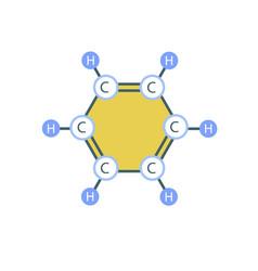 benzene molecule icon flat style vector image