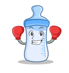 Boxing baby bottle character cartoon vector
