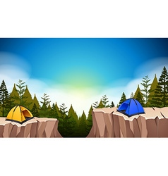 Camp site with two tents on the cliff vector