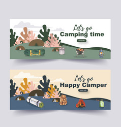 Camping banner design with lantern backpack tent vector