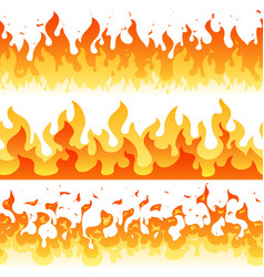 cartoon fire flame seamless frame borders vector image