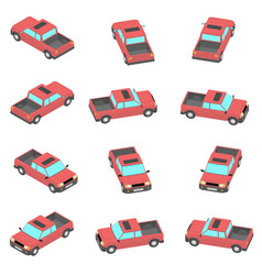 cartoon red pickup in 12 types vector image
