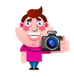 cartoon style character of photographer isolated vector image