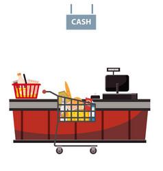Cashier counter in supermarket shop store vector