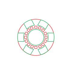 Casino chip symbol fortunes risk gamble vector