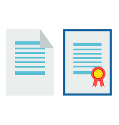 certificate and paper set vector image