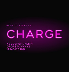 charge linear neon typefaces alphabet vector image