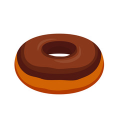 chocolate glaze donut cartoon flat style vector image
