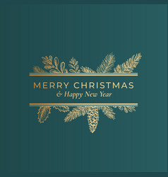 christmas abstract botanical label with rectangle vector image