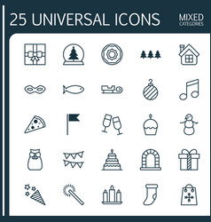 Christmas icons set collection of carnival face vector