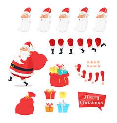 Christmas set of santa claus part create character vector