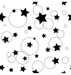 Circle and star black seamless pattern vector image