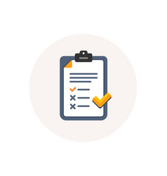 clipboard with checklist icon agreement document vector image