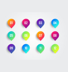 colorful arrow bullet point with number 1 to 12 vector image