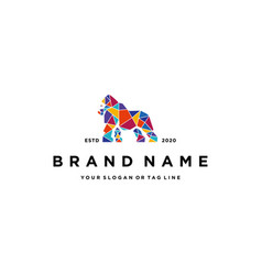 Colorful gorilla logo design vector