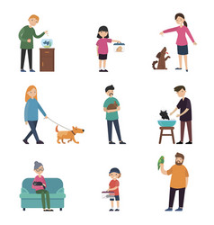 Colorful people and pets collection vector