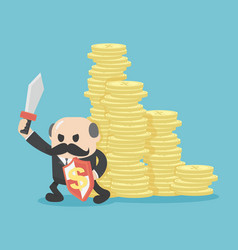 Concept businessmen protect his money vector